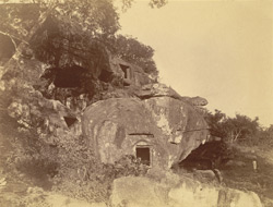 General view from south-west of the Sarpa Gumpha (Serpent Cave), with the Hathi Gumpha beyond, Udayagiri